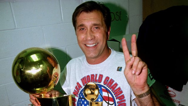 HOUSTON - JUNE 14:  Head coach Rudy Tomjanovich of the Houston Rockets celebrates winning the 1995 NBA Championship after defeating the Orlando Magic in Game Four of the 1995 NBA Finals at the Summit on June 14, 1995 in Houston, Texas. The Rockets won 113-101.  NOTE TO USER: User expressly acknowledges that, by downloading and or using this photograph, User is consenting to the terms and conditions of the Getty Images License agreement. Mandatory Copyright Notice: Copyright 1995 NBAE (Photo by Andrew D. Bernstein/NBAE via Getty Images)